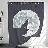 INNObeta Textil Duschvorhang mit 12 duschvorhangringe, antischimmel, wasserabweisend, wasserdicht, strapazierfähig, Bad Dekor, Maschinenwaschbar, 180x200 cm, Wolf, Schwarz