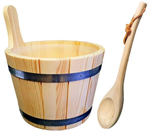 SudoreWell® Saunakübel - Set 5tlg. - Saunakübel Nadelholz, Einsatz, Kelle, Saunaaufguss + Eiskristalle