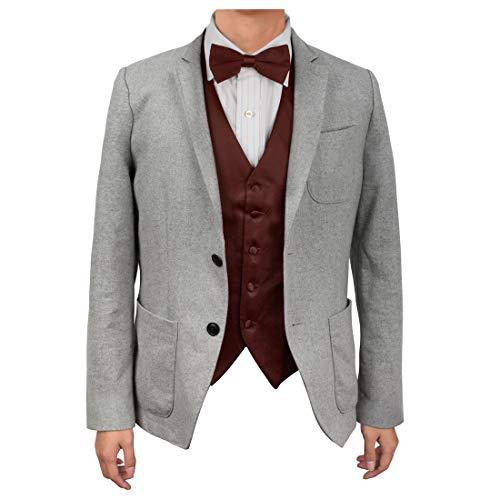 Dan Smith DGEE0008-XL Burgundy Plain Microfiber Manufacturers Waistcoat Satin Best For Travel Vest Matching Bow Tie