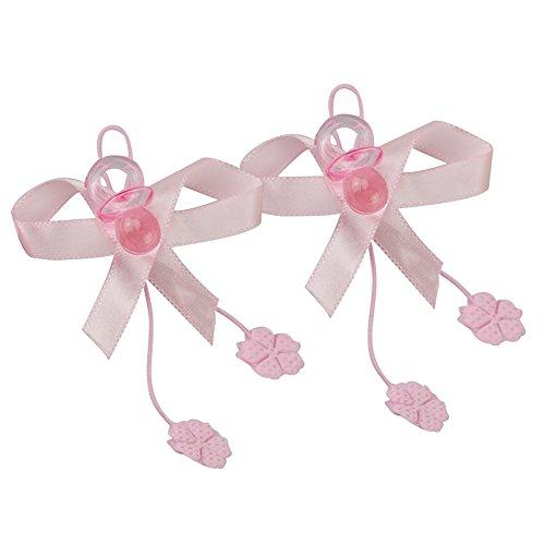 50 Pezzi Ciuccio BOMBONIERA 2CM Colore Rosa Decorazione con Fiocco CIUQUE Foglie Nascita E Battesimo