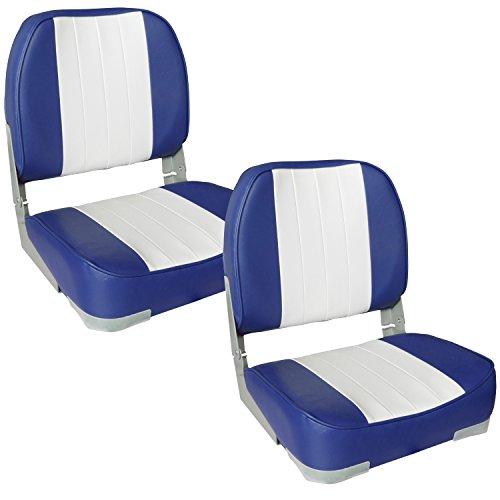 [pro.tec] 2x asientos de barco (azul - blanco) set ahorro - de piel sintética resistente al agua / silla de cabina / tapizado / silla de pesca / resistente a rayos UVA
