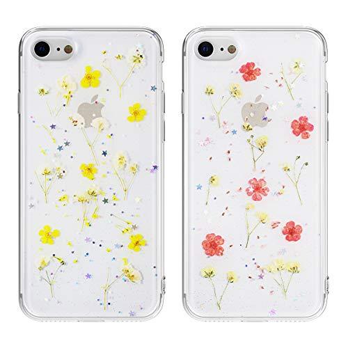 EYZUTAK 2 Pack getrocknete Blumen Hülle für iPhone 7/8/SE 2020, weiche schlanke TPU klar funkeln Sterne Glitzer Silikon Gel stoßfeste Blume Schutztasche - Rosa und Gelb