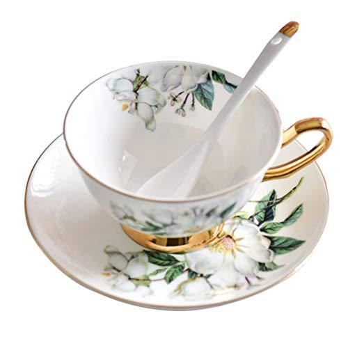Angoily Tazas de Café con Platillo Taza de Té Y Platillo Set Vintage Flower Golden Edge Espresso Taza de Café para Bebidas de Café Latte Cafe Mocha Tea