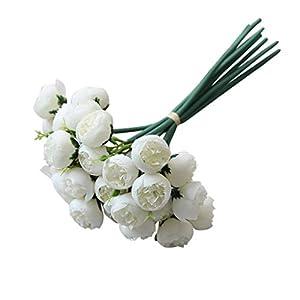 Silk Flower Arrangements 27Heads Artificial Camellia Rose Blossom Flowers Long Stem Silk Fake Bouquet Decoration for Home & Kitchen Birthday Party Decor Bonsai