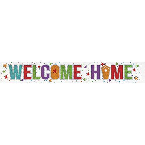 """amscan 9900049Folien-Spruchband, 2,7m, Aufschrift """"Welcome Home"""" (Willkommen Zuhause), Holografisches Spruchband"""