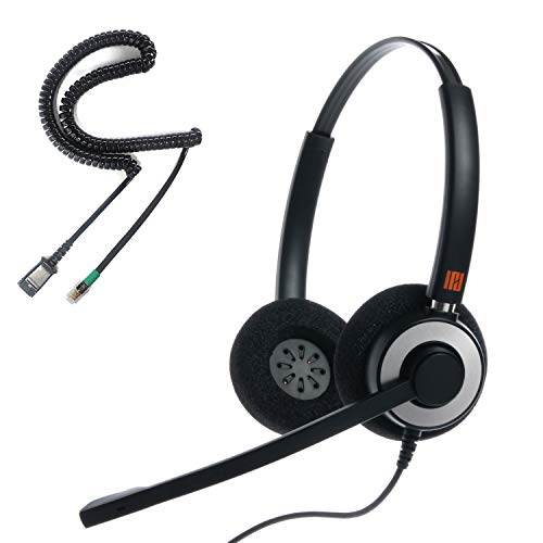 IPD IPH-165 Binaural canceling, Corded Call Center/Office Headset with U10P-S Bottom Cable Works with All Yealink,Snom,Panasonic & LG IP Phones