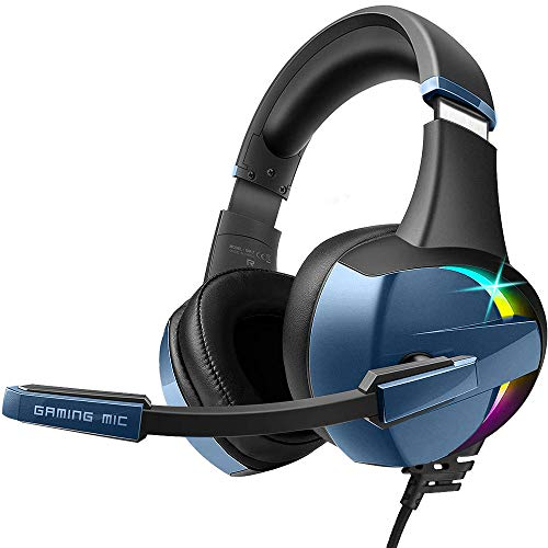 BENGOO GM-7 Gaming Headset Headphones for PS4 Xbox One PC Controller Surround Sound Over Ear Headphones with Noise Canceling Microphone, LED RGB Light On-Line Volume for Laptop Mac Nintendo - Blue