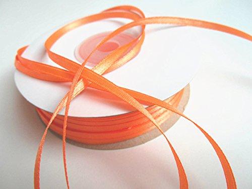 CaPiSo® 100m Satinband 3mm Schleifenband,Geschenkband,Dekoband,Satin Hochzeit,Weihnachten (Neon-Orange, 100m 3mm)