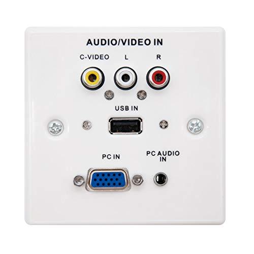NANOCABLE 10.35.0002 - Placa Multimedia de Pared con conexión SVGA/JACK3.5/USB2.0/3xRCA, Blanco