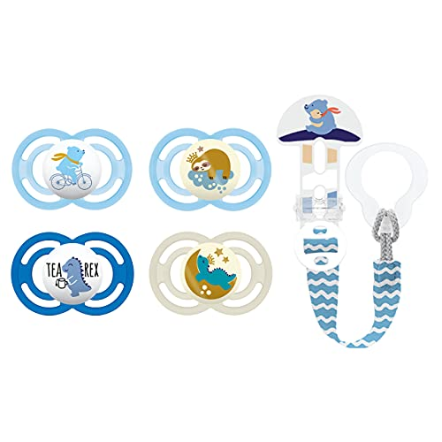 MAM Set di ciucci, 2x Perfect ciuccio silicone 6+ e 2x ciuccio Perfect Night per lo sviluppo corretto di denti e palato, con catenella portaciuccio, 6-16 mesi, (blu/orsetto)