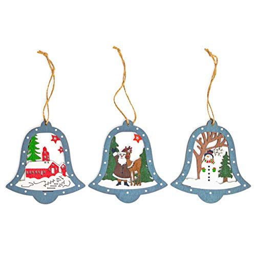 Okuna Outpost Wooden Christmas Tree Ornaments, Jingle Bells (3 Pack)