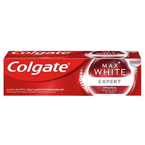 Colgate Zahnpasta Max White Expert Original 75ml, weißere Zähne in 5 Tagen, mit einem professionellen Whitening-Inhaltsstoff