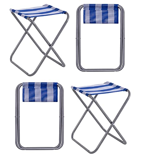 4 Taburetes Plegable Mini Silla Portátil de Aluminio Taburete de Playa de Rayas Azul de Textileno de 39x31x33 cm