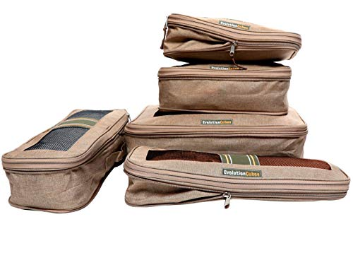 Compression Packing Cubes Travel 6 Set Luggage Organizers w/Wrinkle-Guard (Riviera Sand Beige)