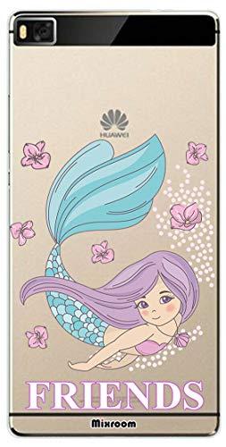 Mixroom - Cover Custodia Case in TPU Silicone Morbida Sfondo Trasparente per Huawei P8 Lite Fantasia Best Friend Sirena 2 U921