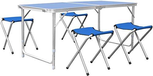 Woodtree Mesa Plegable Camping Mesa Playa Mesa de jardín Mesa for Picnic con 6 sillas Ajustables Mesa for Acampada Azul 180x60x55cm 30 kg,Tama?o:1,Color:1 (Color : 3, Size : 2)