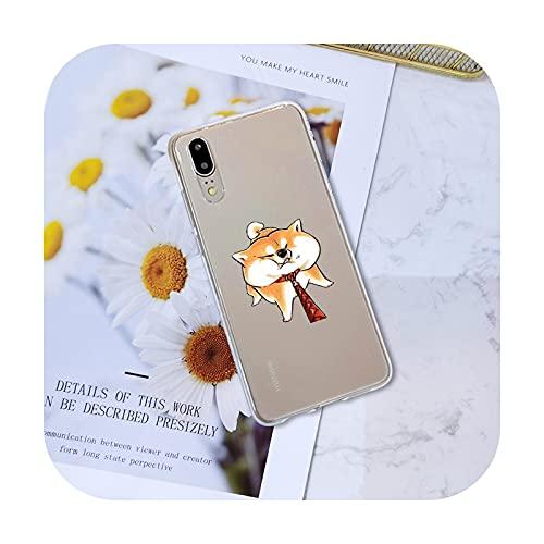Weiche Handyhülle Silikon für Huawei P8 P9 P10 P20 Lite Pro Plus 2017 P Smart P9 Lite Mini Cute Dog Kawaii Shiba Inu Back Cover - No.3-P Smart Plus 2018