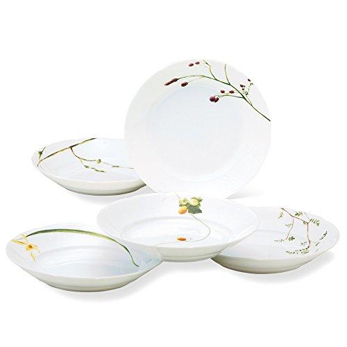 NARUMI(ナルミ) プレート 皿 セット 里花暦(さとはなごよみ) 花柄 径21cm 5枚セット カレー&パスタ 電子レンジ温め対応 日本製 40912-32842