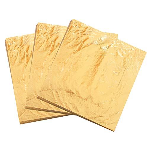 """KINNO Pan de Oro de Imitación Lámina de Cobre 100 hojas para Artes, Manualidades, Decoración de Muebles 16x16cm/6.3"""" X 6.3"""" (Dorado)"""