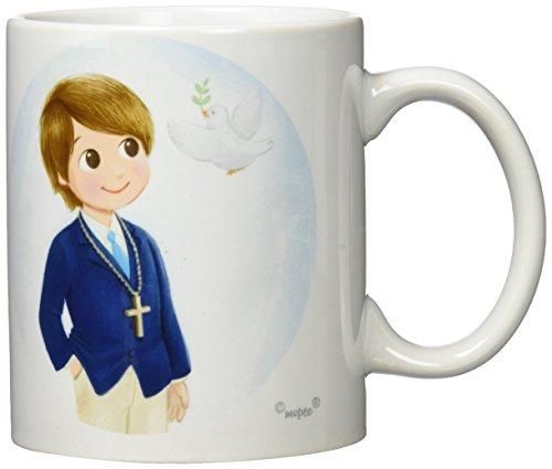 Mopec Taza Primera Comunión de cerámica para niño en Caja de Regalo, Pack de 1 Unidad, Porcelana, Azul, 8.10x8.10x9.50 cm