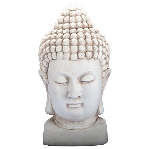 DRULINE 3 Farben Buddha Kopf Figur Dekoration Innendekoration Feng Shui Stein Deko (Weiß)