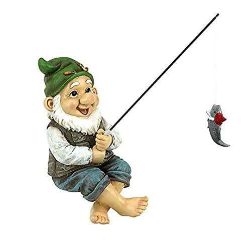 WSXEDC Fishing Old Man Gnome, the Fishing Gnome Sitter Garden, Resin Fishing Dwarf Elf Figurines, for Outdoor Garden Decoration