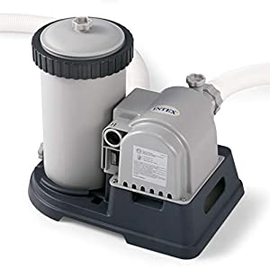 FILTER PUMP: The Intex Krystal Clear filter pump with Hydro Aeration Technology improves circulation and filtration, improves water clarity, and increased negative ions in the water. The pump runs on 110-120V and weighs 24.2 pounds. COMPATIBLE: The I...