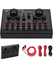 Multifunctional Live Streaming Sound Card USB Audio Interface Mixer Voice Device DJ Karaoke Equipment with Adjustable Volume 16 Effects Support BT Connection for Recording Hosting