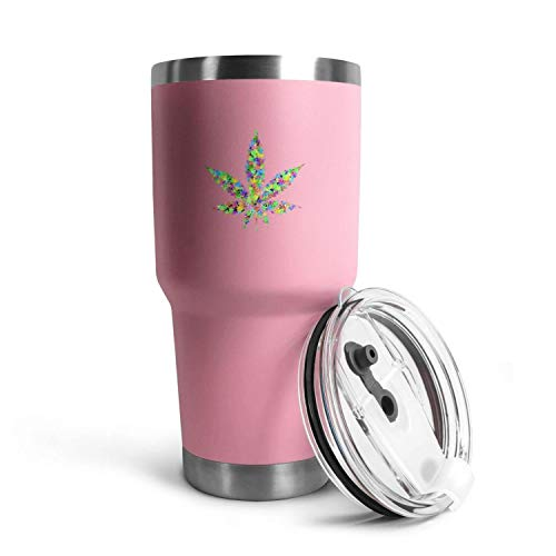 Spring Colors Marijuana Leaf Weed Cannabis30oz Stainless Steel Camping and Travel Flat-Bottomed Mug, with Splash-Proof…