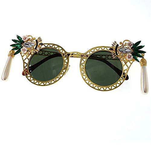 YDS SHOP persoonlijkheid alle metalen bloem kristal Lady Barok zonnebril UV Driving Travel Summer Beach