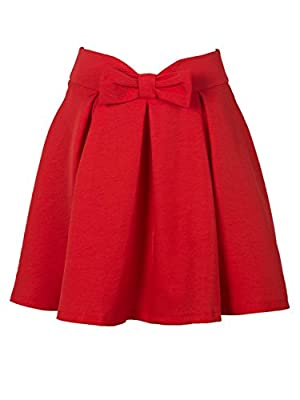 PERSUN Women's Bowknot Front Waist Pleated Short Skater Skirt