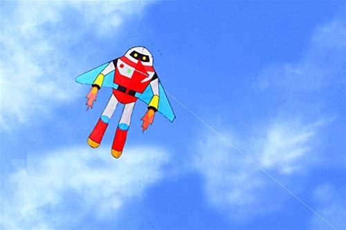 Cometa Super Dibujos Animados Cometa con línea Línea de manija Ripstop Nylon Juguetes al Aire Libre de los Juguetes Volando Kites Reel Bag Sitle (Color : Robot Kite)
