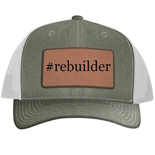 #Rebuilder - Leather Hashtag Dark Brown Patch Engraved Trucker Hat, Heather-White, One Size
