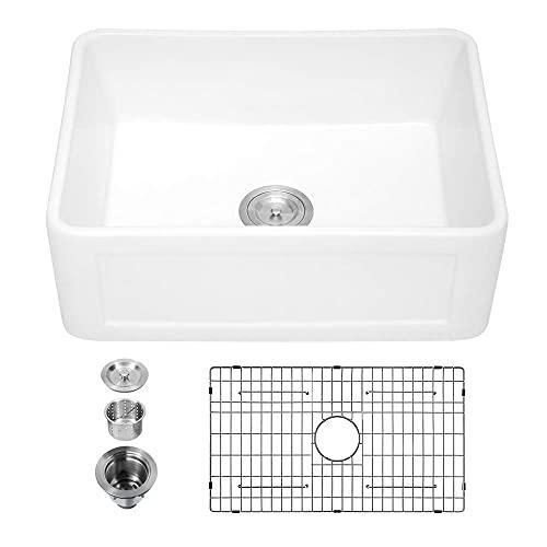 Small white farm sink - sarlai 24 inch kitchen sink white ceramic...