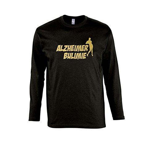 ALZHEIMER BULIMIE - Herren Langarm Longsleeve T-Shirt S-XXL , Deep black - gold , XXL