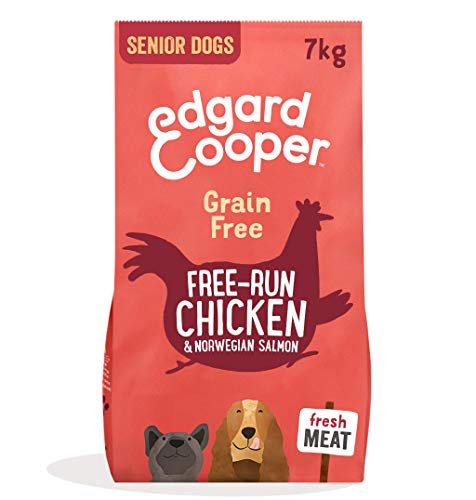 Edgard & Cooper Kroketten Senior für ältere Hunde mit frischem Hähnchenfleisch und norwegischem Lachs, Trockenfutter ohne Getreide, hypoallergen