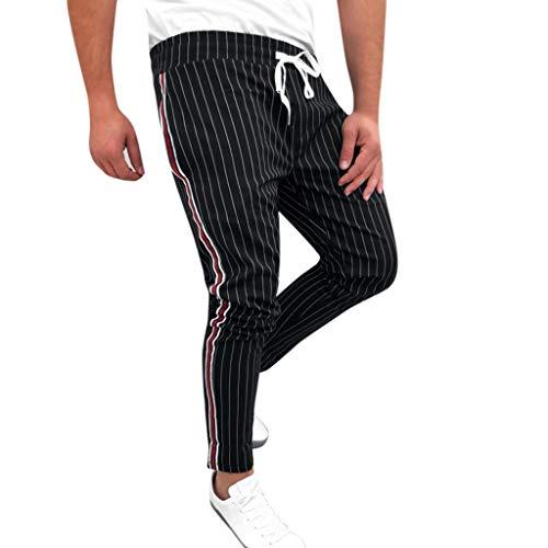 Auifor Heren Jogger Striped Patchwork casual trekkoord joggingbroek broek lange broek