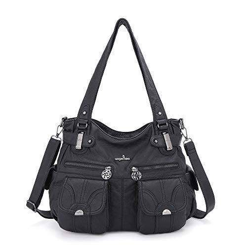 Angelkiss 2 fermetures à glissière supérieures sacs à main multi poches sacs à main en cuir lavé sacs à bandoulière 5739/1 (noir)