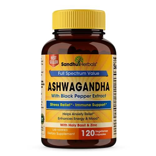 Sandhu Herbals Ashwagandha with Zinc Black Pepper Extract Ashwagandha Powder Stress Relief & Mood Support Supplements 120 Vegetarian Capsules