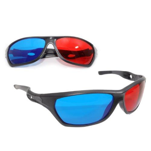 3D Brille mit Anaglyphen-Technologie für Filme oder PC-Spiele im 2er Set, Gläser rot/Cyan