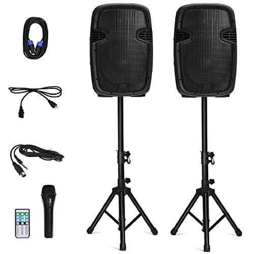 Costzon 2-Way Powered PA Speakers System Combo Set, 12' 1600W Portable Dual Passive Active Speaker with 2 Speaker Stands, Bluetooth, USB/SD Card, AUX MP3 FM Radio, Microphone, Remote Control (12')