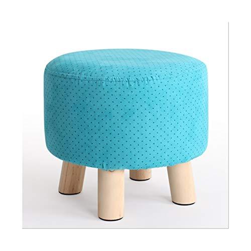 LYLY Otomana Sofá Suelos de Dibujos de pie pequeño Pie de Madera Taburete Otomano Otomano Silla de Taburete Set de Taburete Decoración Simple para Sala de Estar Cuarto de Cama Taburete (Color : Blue)