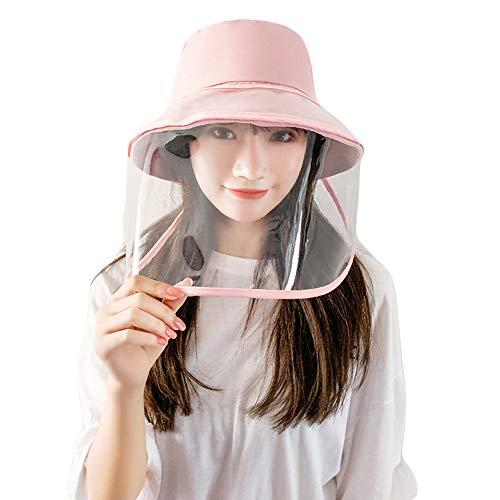 Santwo, cappello a secchiello per adulti, da donna, con visiera, antipolvere, a goccia, protezione UV Cappello rosa+visiera Etichettalia unica