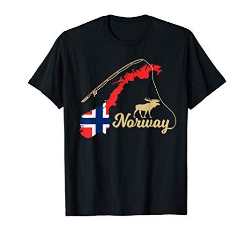 Norwegen Landkarte Angel Elch T-Shirt