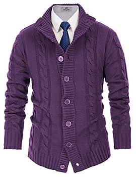 PJ PAUL JONES Mens Fashion Cable Knitted Cardigan Sweaters for School/Work/Daily Wear M Deep Purple