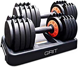 GRIT Adjustable Dumbbells Set - 11 to 55 Lbs Fast Adjusting Dial Weights - Workout Exercise, Strength Training and Core Fitness at Home or Gym for Men and Women - Easy Removable Plates, Tray 2 Pack