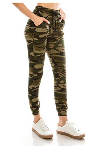 ALWAYS Women Drawstrings Jogger Sweatpants - Super Light Skinny Fit Premium Soft Stretch Camo Military Army Pockets Pants US M (Tag L/XL)