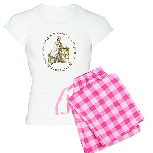 CafePress Jane Austen Writing Pajamas Womens Novelty Cotton Pajama Set, Comfortable PJ Sleepwear