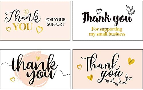 120 Pieces Thank You for Your Support Business Cards Bulk Gold Foil Thanks Greeting Cards Floral product image