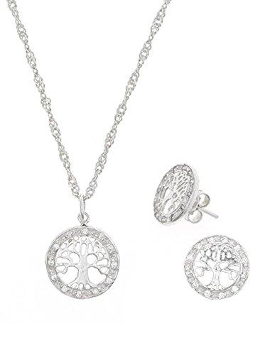 Córdoba Jewels | Conjunto de Gargantilla y Pendientes en Plata de Ley 925. Diseño Árbol de la Vida Zirconium